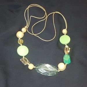 Green Beaded Macrame Necklace
